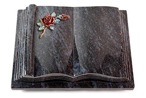 MEMORUM Grabmale Grabbuch, Grabplatte, Grabstein, Grabkissen, Urnengrabstein, Liegegrabstein Modell Antique 40 x 30 x 8-9 cm Orion-Granit, poliert inkl. Gravur (Bronze-Color-Ornament Rose 1)