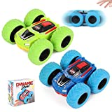 M SANMERSEN Pull Back Cars, 2 Pack Monster Toys Truck Double-Sided Friction Powered Vehicles Flips Shockproof Inertia Cars Push and Go Vehicles Best Party Gifts for Toddler Boys Girls