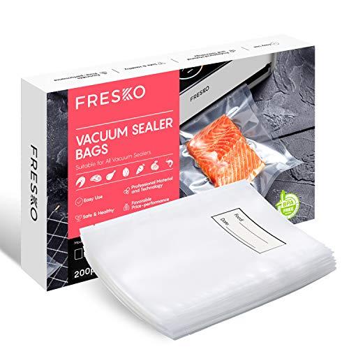 FRESKO Bolsas para Envasar al Vacío, 200 Bolsas 20x30cm Bolsas de Vacio Gofradas para Conservación de Alimentos y Sous Vide Cocina & Boilable, sin BPA y Aprobada por la FDA