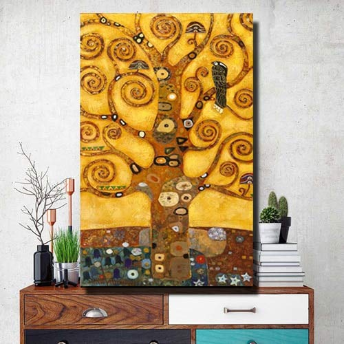 Wjwei Gustav Klimboom des levens muurkunst canvasdruk levensboom beroemde schilderijen woonkamer olieverfschilderij poster print decoratie 50x75cm unframed Pp1638