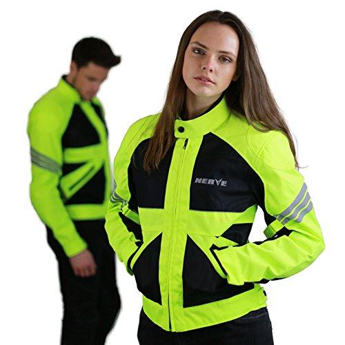 Nerve Shop Dünne Motorradjacke -Go- Motorrad Sommerjacke Protektorenjacke Damen Sommer Jacke Kurz Elegant Leicht Textil Mesh - schwarz-neon-grün-gelb - 2XL / XXL
