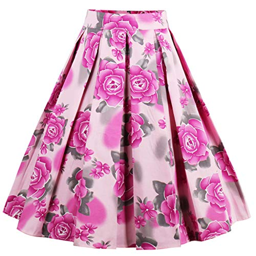 DresseverBrand Falda Rockabilly para mujer, línea A, estilo retro Flor roja. M