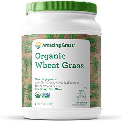 Amazing Grass Wheat Grass Powder: 100% Whole-Leaf Wheat Grass Powder for Energy, Detox & Immunity Support, Chlorophyll Providing Greens, 100 Servings