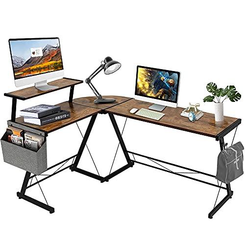 Dripex Schreibtisch Computertisch L Form Eckschreibtisch mit Monitoraufsatz Büroschreibtische Gaming Tisch Vintagebraun, 150x110x74 cm