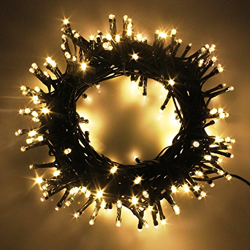 Indoor/Outdoor LED Christmas Lights on Dark Green Cable with 8 Light Effects, Low Voltage Fairy String Lights, Ideal for Festival Decoration, Garden, Xmas Tree, Room, Party, Wedding (300LEDs, Warm)