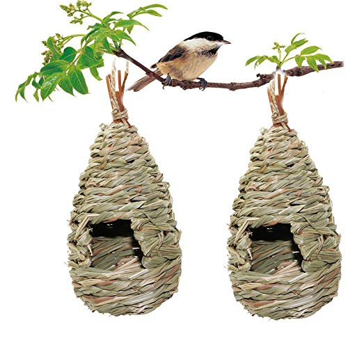 2 Pack Bird House, Hanging Birdhouse Hummingbird Nest Fiber Hand-Woven Roosting Pocket, Sparrow House for Finch & Canary