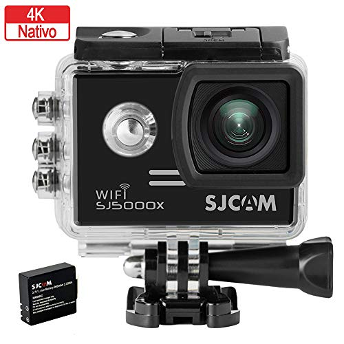 SJCAM SJ5000X-Elite Deutsche Version wasserdichte Sport Actionkamera (5,08 cm (2 Zoll), 4K/2K, WiFi, 30m, 14MP, Gyro Anti-Shake Stabilisierung, 16 Zubehörteile) schwarz