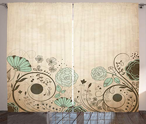"""Ambesonne Abstract Curtains, Old Dated Vintage Retro Antique Image with Floral Swirls Art Print, Living Room Bedroom Window Drapes 2 Panel Set, 108"""" X 90"""", Brown Turquoise"""