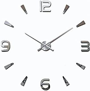 Lance Home Creative Special Large DIY Quartz Decoration 3D Wall Clock Modern Design Mirror Sticker Wall Clocks Watch Hours Non-ticking Home Kitchen/Living Room Wall Clock -Silver