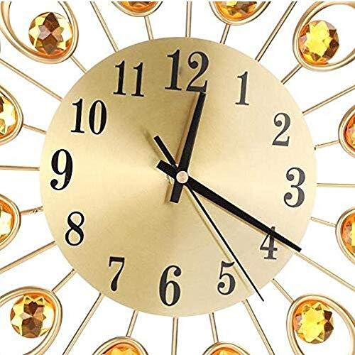 Kaper Go Reloj De Pared De Moda De Flor De Diamante De Hierro Forjado Europeo Sala De Estar Dormitorio Reloj De Pared De Metal Silencioso