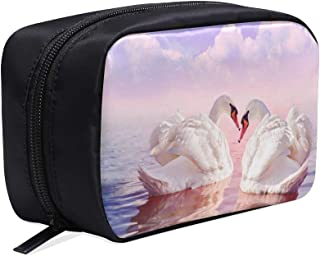 Beautiful White Swans Dancing Portable Travel Makeup Cosmetic Bags Organizer Multifunction Case Small Toiletry Bags For Women And Men Brushes Case