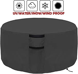 Onlyme Fire Pit Cover Round – Waterproof Heavy Duty Patio Firepit Table Bowl Cover Durable Outdoor Furniture Cover Black(32in
