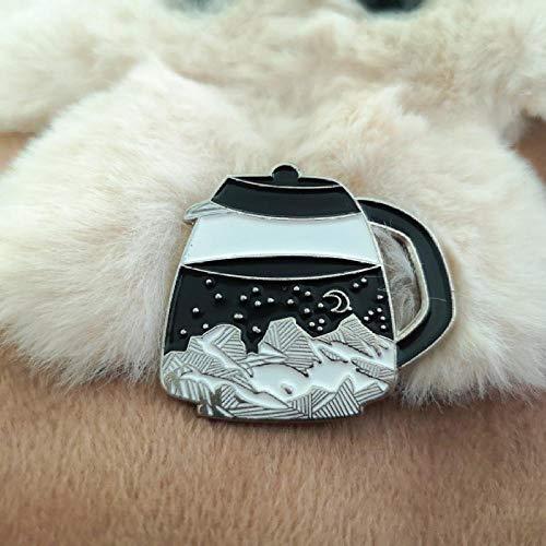 JKDFGJ Natur Kaffeekanne Emaille Pin Bergwald Teekanne Moon Star Button Abzeichen Reise Brosche Pin Frauen Männer im Freien Geschenke