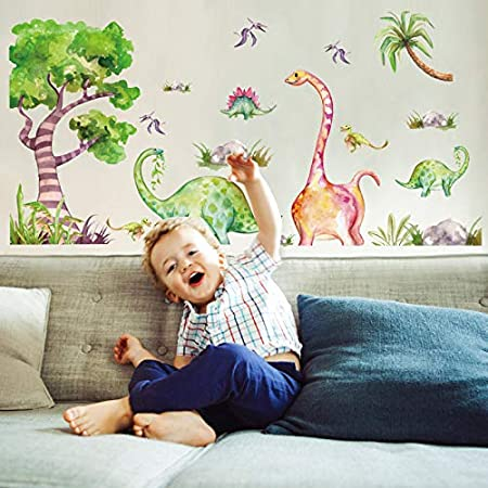 Dinosaur Peel /& Stick Wallpaper Exotic Animals Removable Decal Palm Leaves Self Adhesive Wall Mural Black Jungle Temporary Wall Decor