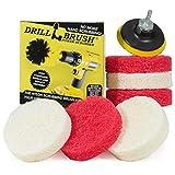 Drillbrush Kit para el baño Limpieza poder depurador Scumbusting Scrub Pad almohadillas de 4 pulgadas de diámetro rojo blanco