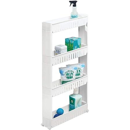 mDesign étagère mobile pour la buanderie – meuble à roulettes compact pour ranger la lessive, le détachant, etc. – chariot pratique avec 4 larges bacs de rangement en plastique – blanc