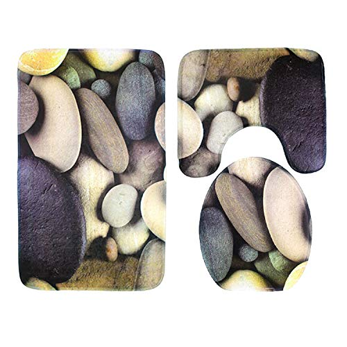 KUKUALE Materassino da Bagno per Bagno a Vento Europeo e Americano 3 Pezzi Set Materasso per Pavimento in Moquette con Stampa 3D in Pietra