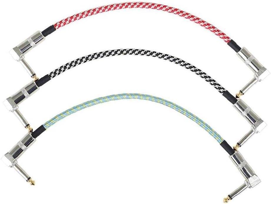 Guitarra Patch Cables, 6.5mm Guitarra Latiguillos de conexión de Audio Cables de Instrumentos Cable para Guitarra Pedales Efectos de bajo 3PCS