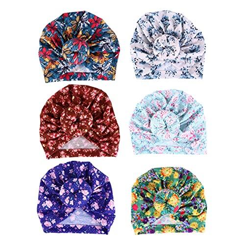 Elasticidad 6pcs Baby Headbands Turban Hats Floral Bun Knot Rabbit Headwraps Compatible con el niño pequeño recién Nacido (Color Mixto) Scrunchie