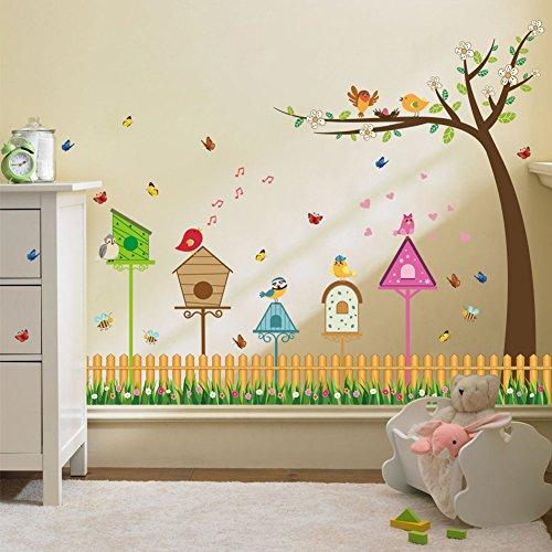 Wallpark Niedlich Singen Vogel Blume Zaun Baum Fußleiste Abnehmbare Wandsticker Wandtattoo, Kinder Kids Baby Hause Zimmer Kinderzimmer DIY Dekorativ Klebstoff Kunst Wandaufkleber