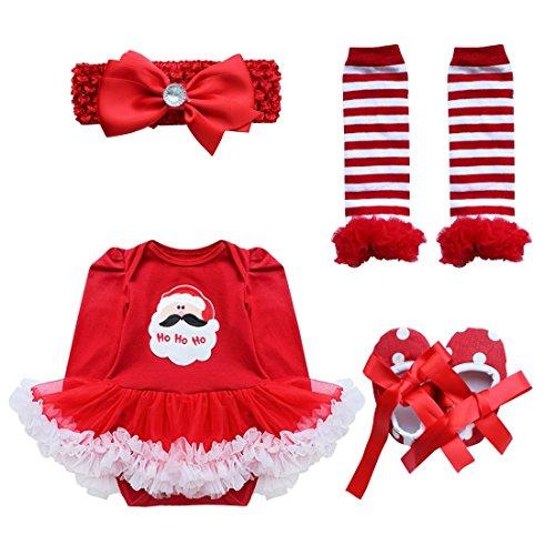 Freebily Conjunto de Navidad para Bebé Niña Recién Nacido Vestido de Princesa Infantil Estilo de Pelele Fiesta Invierno Otoño Papá Noel 1 6-9 Meses