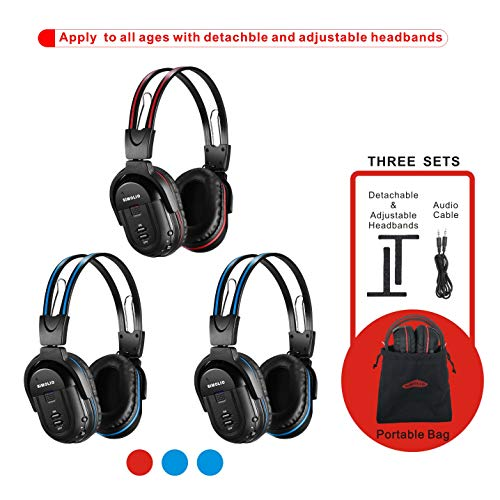 SIMOLIO 3 Pack of Wireless Car Headphones, IR Headphones for Kids in Car Wireless Entertainment, Foldable Wireless DVD Headphones with Travelling Bag, Universal Rear Entertainment System Headsets