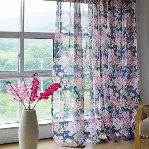 Eastery plooiband gordijn kleine bloemen voile 1er Pack B * H 140 * 145 cm raamgordijn eenvoudige stijl romantisch huis Simplicity Life thema decoratie gordijnen
