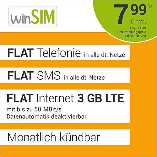 winSIM LTE All 3 GB Allnet Flat - monatlich kündbar (FLAT Internet 3 GB LTE mit max. 50 MBit/s mit deaktivierbarer Datenautomatik, FLAT Telefonie, FLAT SMS und EU-Ausland, 7,99 Euro/Monat)
