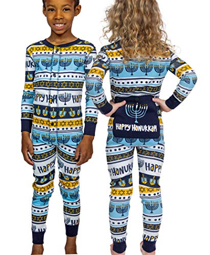 LazyOne Flapjack, Matching One-Piece Pajamas with Drop Seat, Kids (Hannukkah, 6)