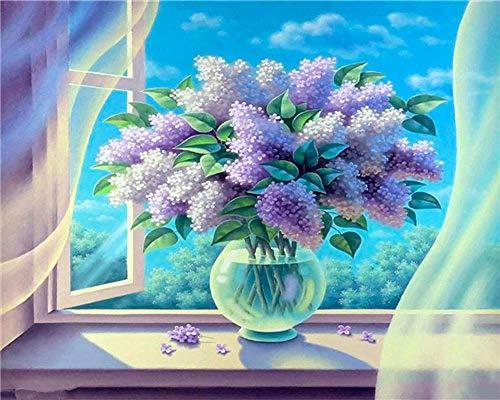 DIY Paint by Numbers,Pintar por Numeros Adultos Niñost Botella de cristal flor morada Pintura por Numeros Pintura al óleo para Decoración de Paredes del Hogar Regalo(40x50cm sin marco)