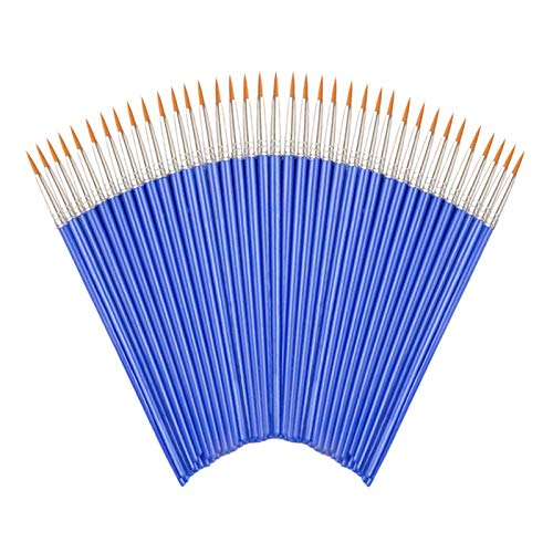 Round Paint Brushes,50 Pcs Art Paintbrushes for Kids/Artists/Painters/Beginners/Students ,Short Plastic Handle,Nylon Hair Brushes for Acrylic Oil Watercolor Art Painting