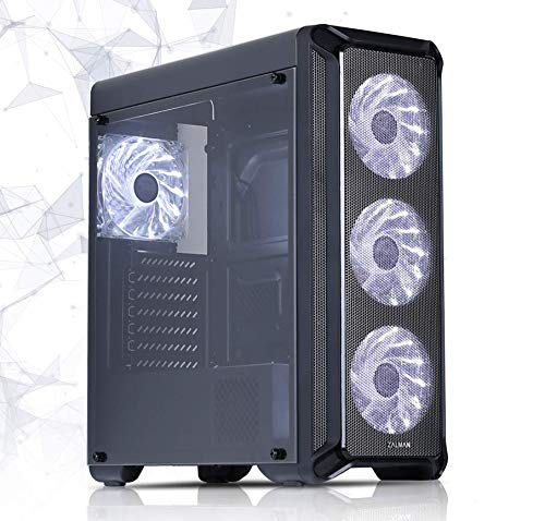 Zalman i3 ATX Gaming Mid Tower Computer, PC, ATX (& mATX) Case with Pre-Installed 4 x 120mm White LED Fans, Airflow System, Smoky Acrylic Side Window, Simple Design with 7 PCI Slots, Black