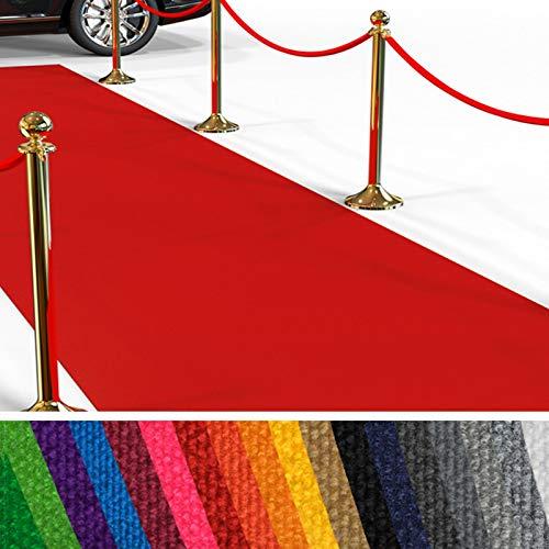 Passatoia al Metro Eventi - Passerella Anti-Scivolo | Red Carpet, Tappeto per Matrimonio, Cerimonia, Sfilata | 18 Colori, 2 Larghezze, fino a 50 m di Lunghezza | 100x100 cm - Rosso