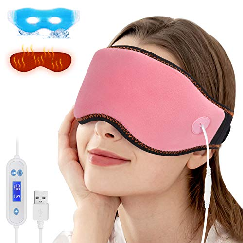 Heated Eye Mask for Dry Eyes, Hot and Cold Sleep Mask for Reliving Eye Stress,USB Hot Compress Eye with Reusable Ice Gels, Adjustable Temperature & Timing Control for Dark Circle, Blepharitis etc.-Pink