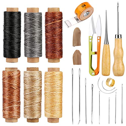 Leather Craft Sewing Kit Leather Repair Upholstery Sewing Kit with 6 Colors Leather Sewing Waxed Thread Hand Quilting Needles Sewing Awl for Beginner Leather Repair, Stitching, Sewing