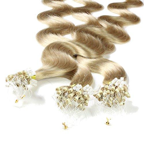 hair2heart 150 x 1g Echthaar Microring Loop Extensions, 40cm - gewellt - #20 aschblond
