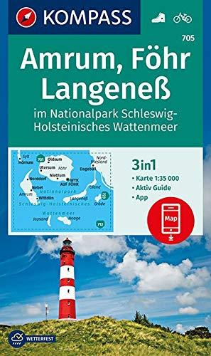 KOMPASS Wanderkarte Amrum, Föhr, Langeneß im Nationalpark Schleswig-Holsteinisches Wattenmeer: 3in1 Wanderkarte 1:35000 mit Aktiv Guide inklusive ... (KOMPASS-Wanderkarten, Band 705)