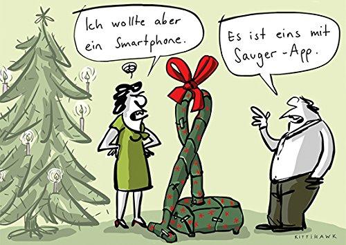 Postkarte A6 • 61022 ''Sauger-App'' von Inkognito • Künstler: Kittihawk • Cartoons • Weihnachten