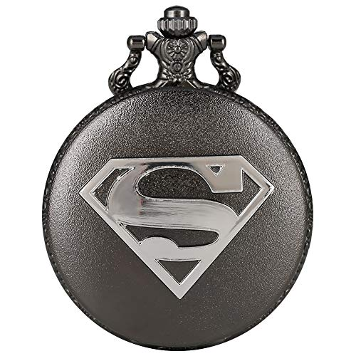 Black Pocket Watch Superman S Pattern Quartz Pendant Necklace Watch for Men Women Xmas Gift Ahmedi