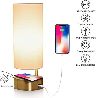 Touch Control Table Lamp with Wireless Charger and USB Charging Port, 3-Way Dimmable Desk Lamp Modern Nightstand Lamp for Bedroom Living Room Office, Led Bulb Included