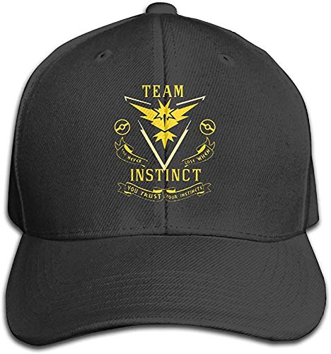 YVES Guns Hats Team Instinct (Pokemon GO Inspired) - Yellow Vinyl Decal Black Flat Bill Strapback Cap