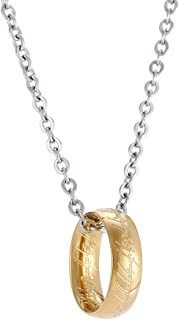 Winssigma Collar con colgante de anillo grabado en tono dorado para aficionados, disfraz de cosplay