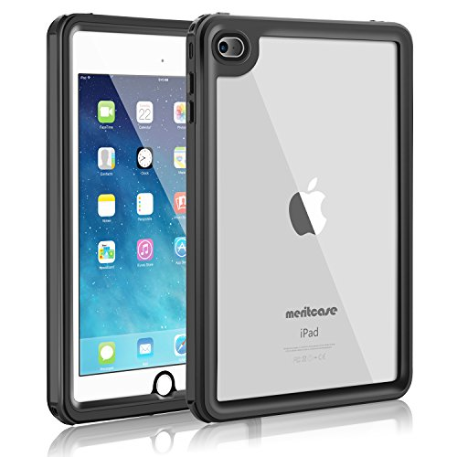 iPad Mini 4 Waterproof Case, Meritcase iPad Mini 4(7.9 inch, IP68 Waterproof Full Body Snowproof Dustproof Shockproof Case with Touch ID and Kickstand for Snowmobile Swimming Surfing Diving- (Black)
