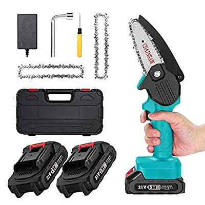 Mini ChainSaw with 2 Battery, Seesii 4-Inch Cordless Electric Pruning Chain Saw with Replacement Chain, One-Handed Portable Chainsaw for Branch Wood Cutting Garden Tree Logging Trimming