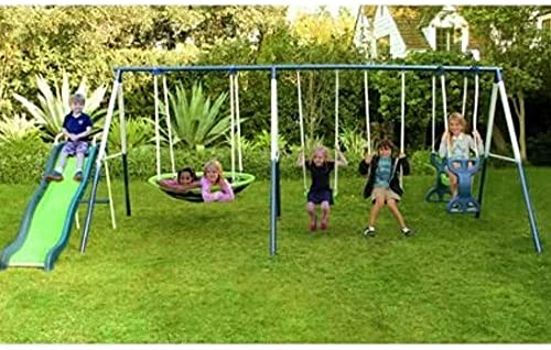 SKROUTZ Metal Swing Set with Slide for Backyard Outdoor Kids Fun Play Durable Construction Park for Physical Activity and Exercise - Skroutz