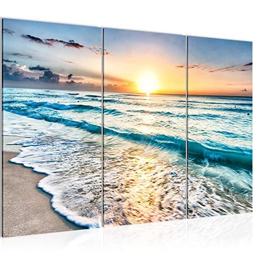 Runa Art Puesta De Sol Playa Cuadro Murales Sala XXL Beige Azul Mar 120 x 80 cm 3 Piezas Decoración de Pared 023731a