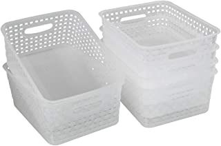 Idomy 6-Pack Plastic Storage Baskets/Bins, Clear
