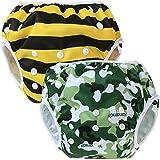 Teamoy 2pcs Baby Nappy riutilizzabile pannolino da nuoto, Camouflage+ Bees