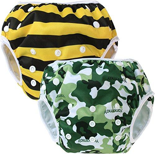 Teamoy Pañal Bañador (2 piezas) Pañal de natar Pantalones de entrenamiento,Camuflaje+Abeja
