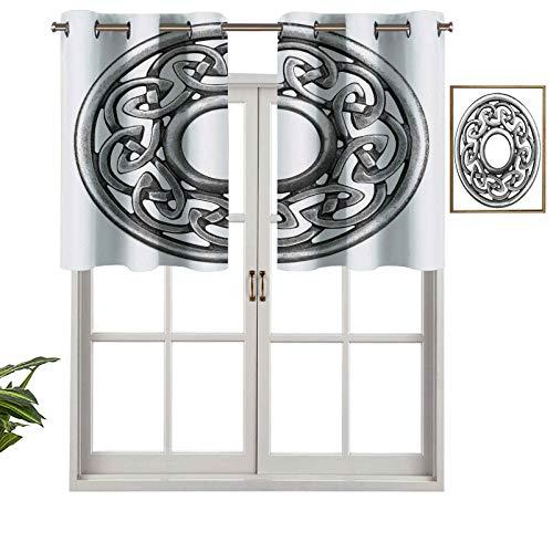 Hiiiman Premium Window Grommet Short Curtain Valance Panels Royal Style Circular Celtic Pattern Graphic Print Metal Brooch Design Scottish Shield, Set of 2, 42'x36' for Bathroom & Kitchen
